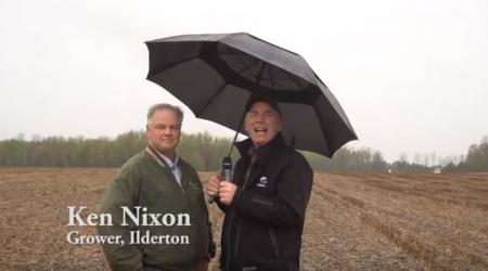 Maizex Agronomy Lead, Greg Stewart in Ilderton, Ontario field with grower Ken Nixon
